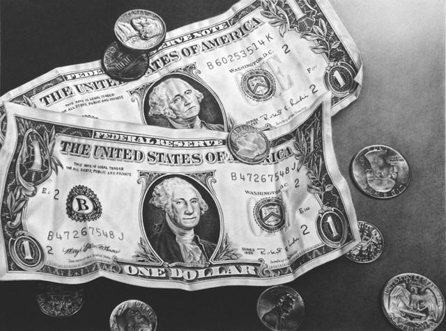 ドル紙幣 鉛筆画