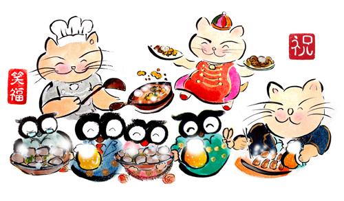 中華料理、ラーメン店開店、招き猫の絵