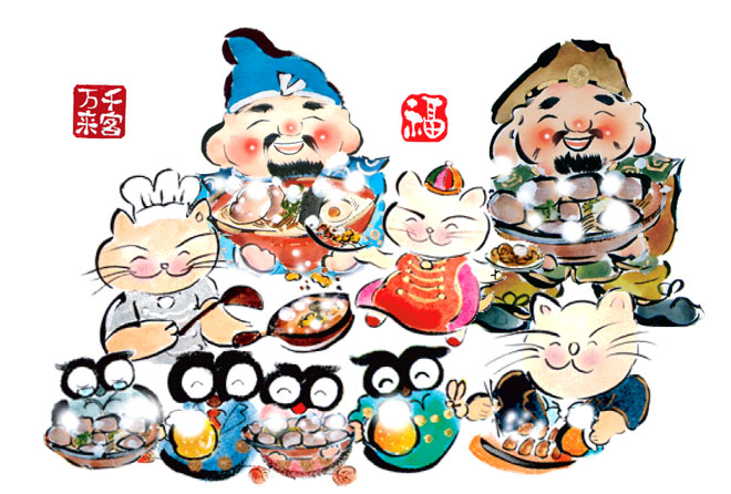 中華料理、餃子のお店オープン祝い絵画のプレゼント