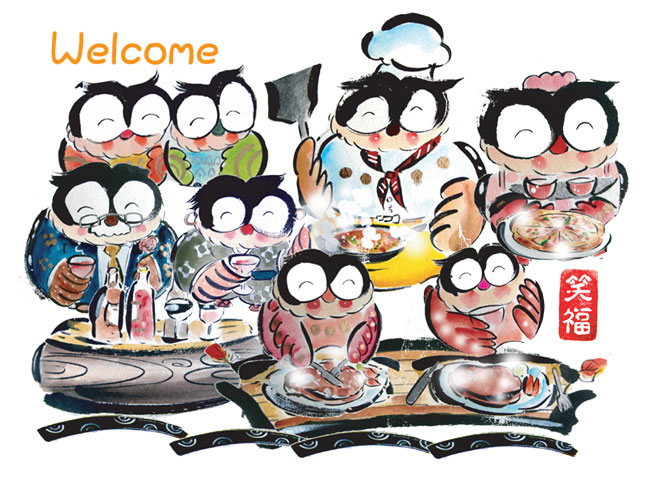 人気のフクロウの開店お祝い絵画